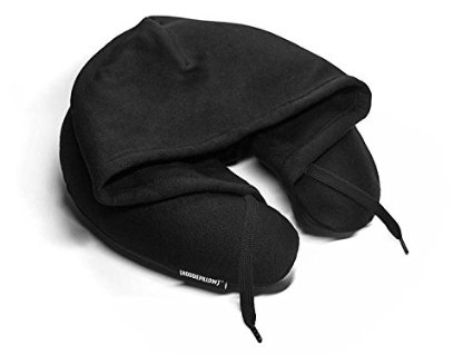 Black travel hoodie pillow neck cushion