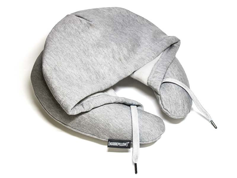 Grey travel hoodie pillow neck cushion