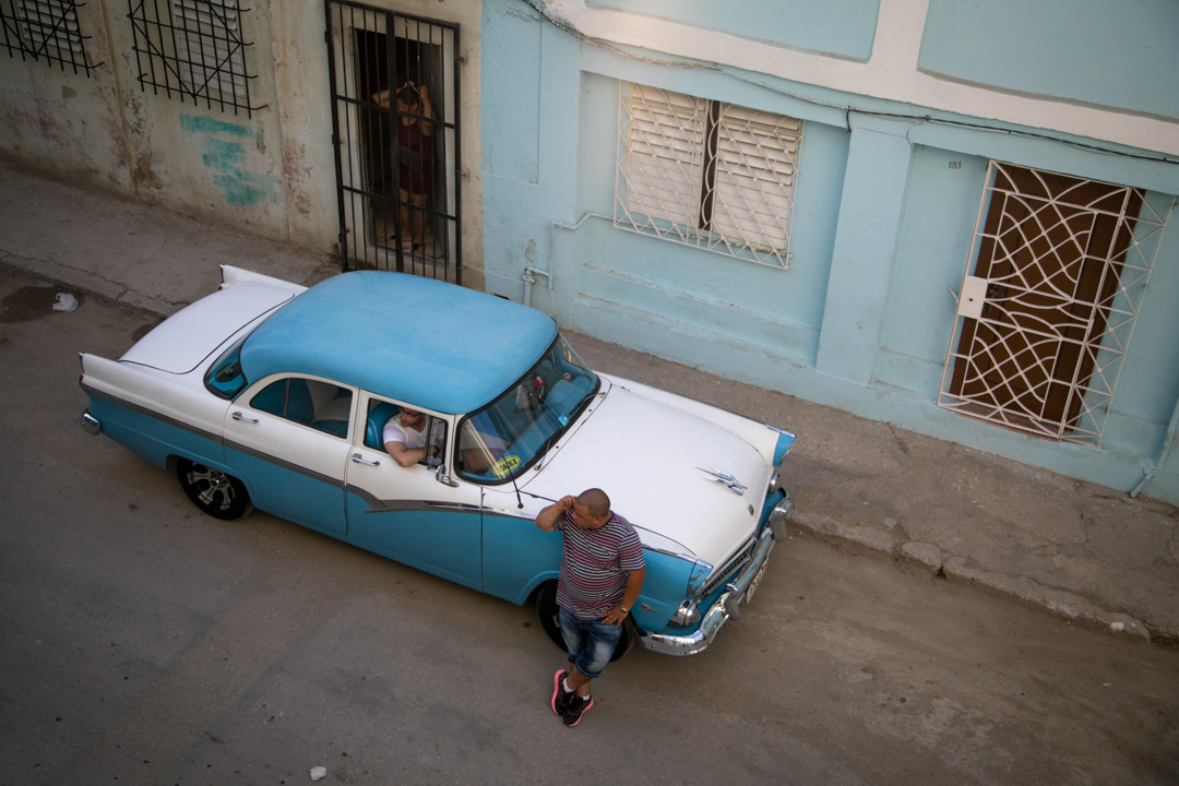 View from Casa Particular Roomantic Colonial 2, classic car in Havana