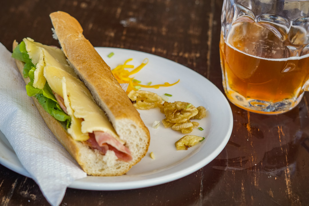 Cubano sandwich and beer at Cerveceria Antiguo Almacen de la Madera y El Tabaco in Havana
