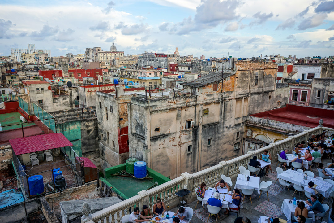 Al fresco dining terrace at La Guarida with a view of Havana