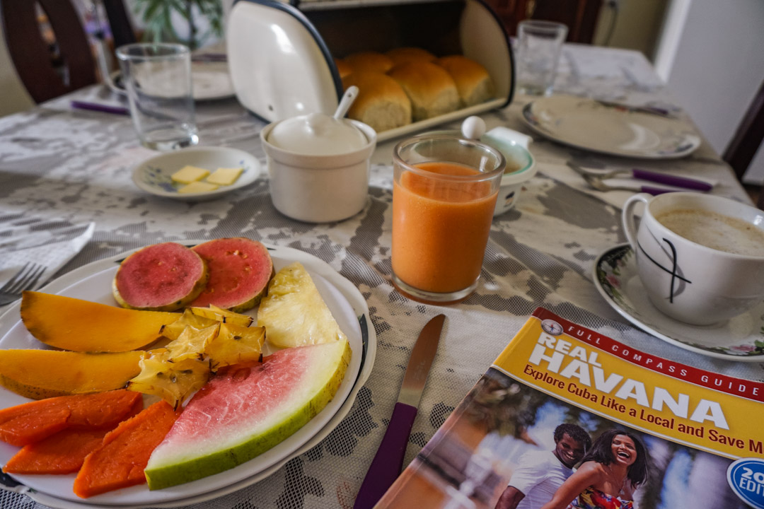 Breakfast at Casa Caribe hostel in Havana, Cuba
