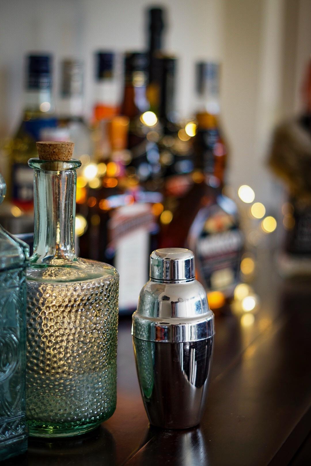 TK Maxx homeware glass bottle and cocktail shaker home bar