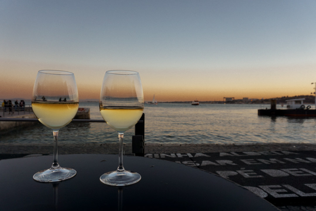 wine at sunset in Lisbon