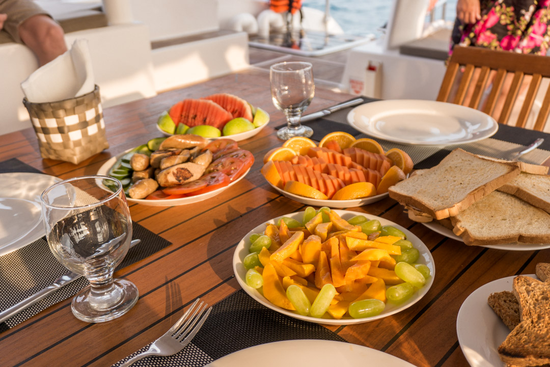 breakfast Chef cooking on board G Adventures Southern Sri Lanka sailing trip 53ft catamaran