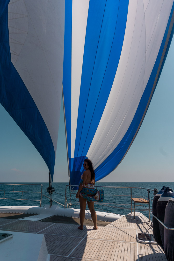 Genniker and jib sailing 53ft catamaran G Adventures south coast Sri Lanka