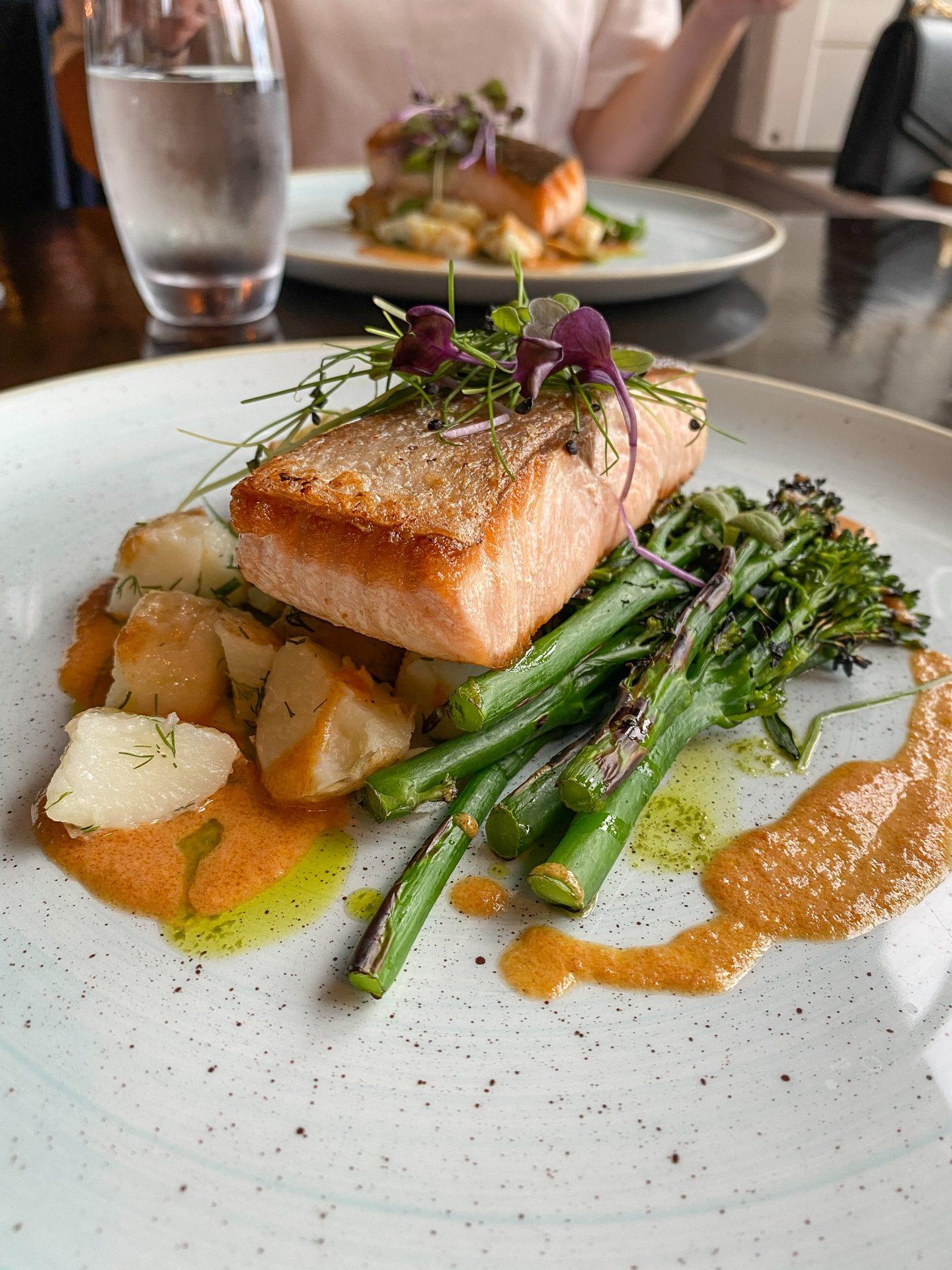 Salmon dinner at Pinewood Restuarant Lusty Beg