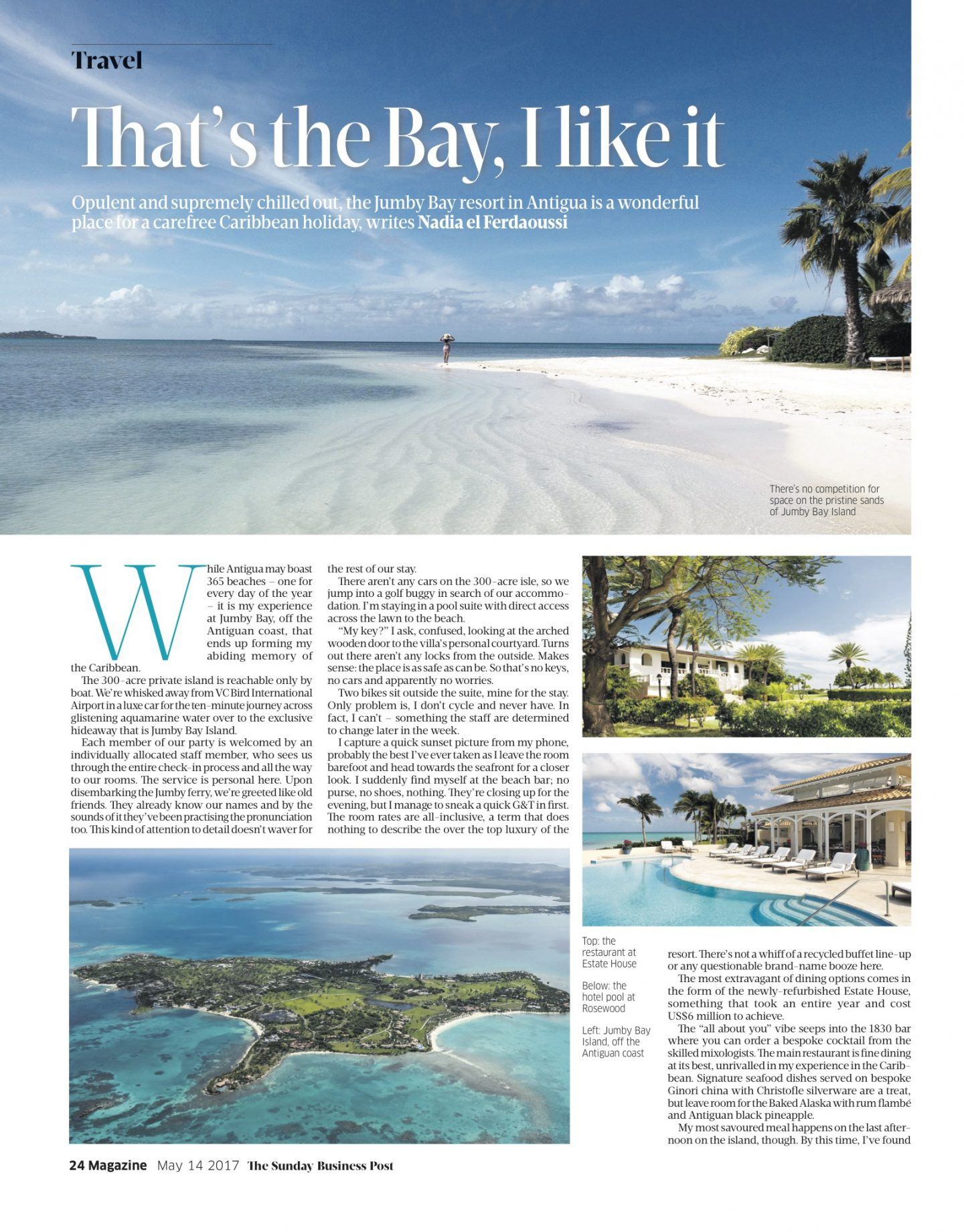 Nadia El Ferdaoussi Sunday Business Post Jumby Bay Private Island Antigua Travel Writer