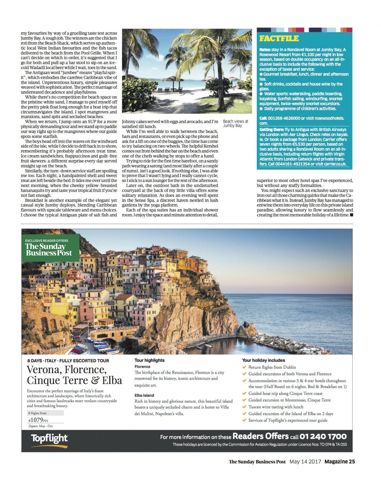 Nadia El Ferdaoussi Sunday Business Post Jumby Bay Private Island Antigua Travel Writer