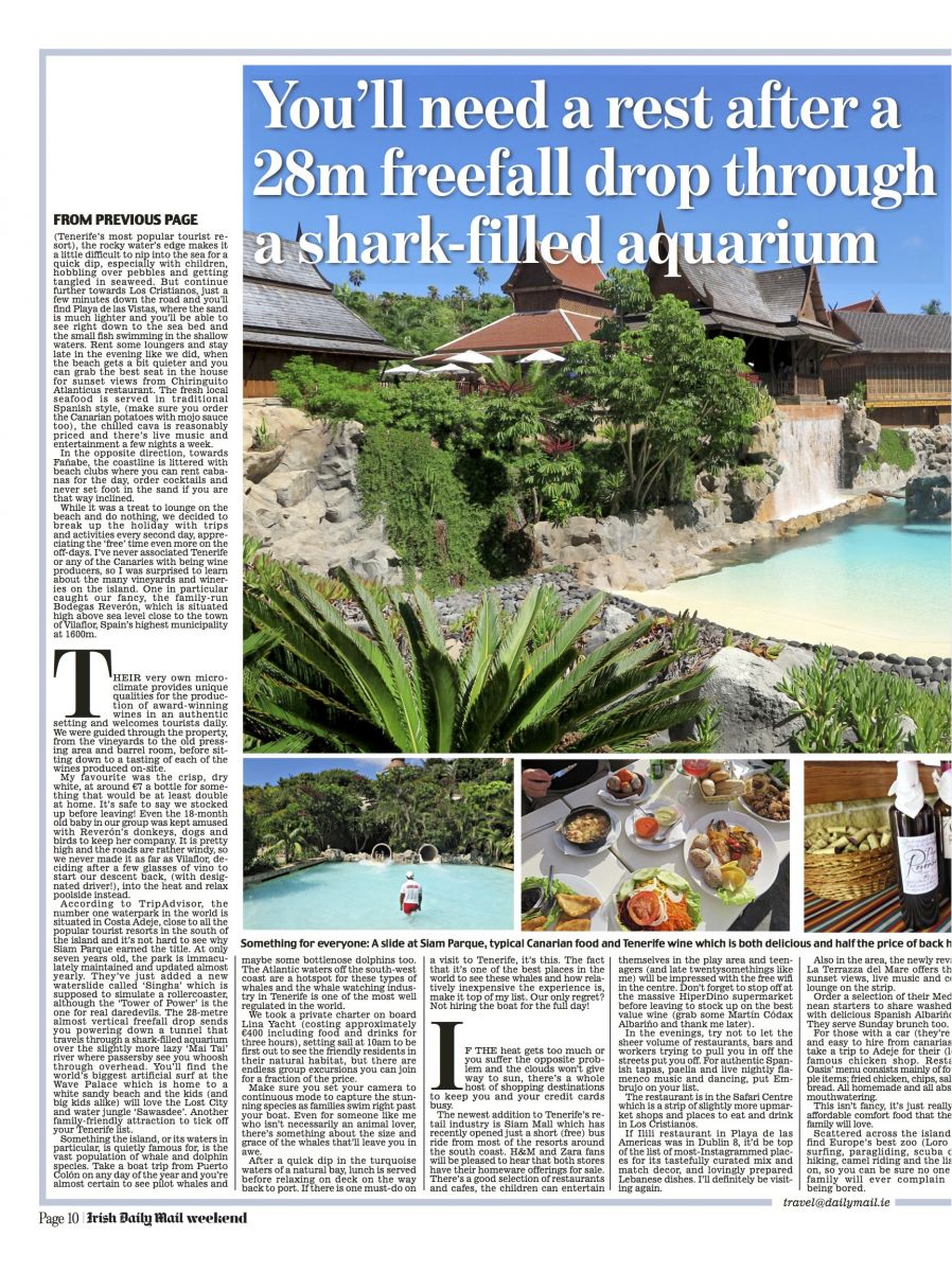 Nadia El Ferdaoussi travel writer Irish Daily Mail Tenerife