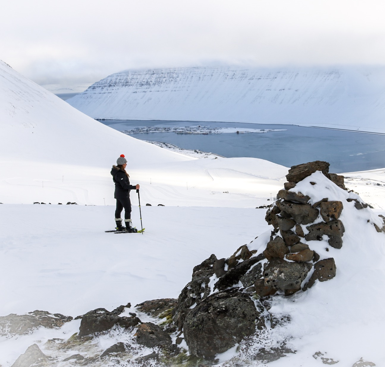 Snowshoeing in Isafjordur, Westfjords in winter in Iceland
