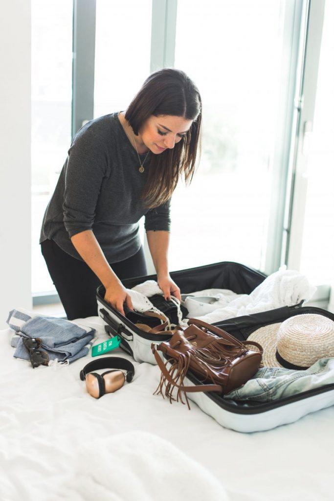 Packing tips pro travel blogger Nadia El Ferdaoussi the daily self Kinsale leather Kane weekender bag Penneys Primark suitcase