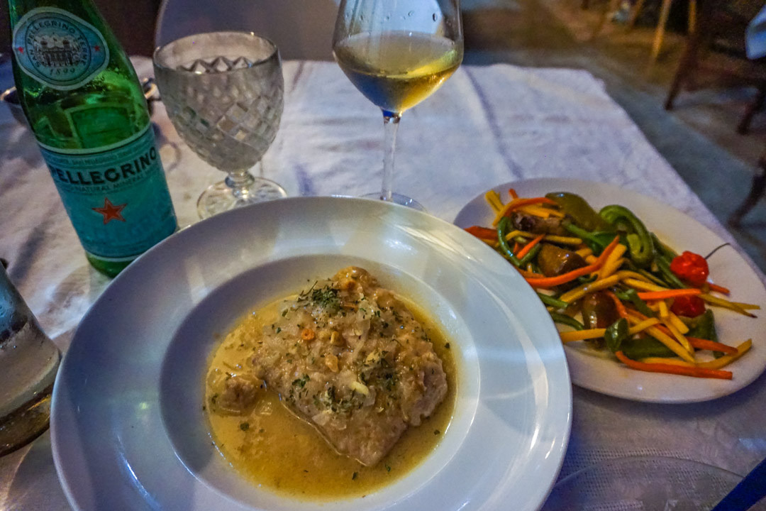 Fish and vegetables with white wine at La Guarida Paladar, Havana