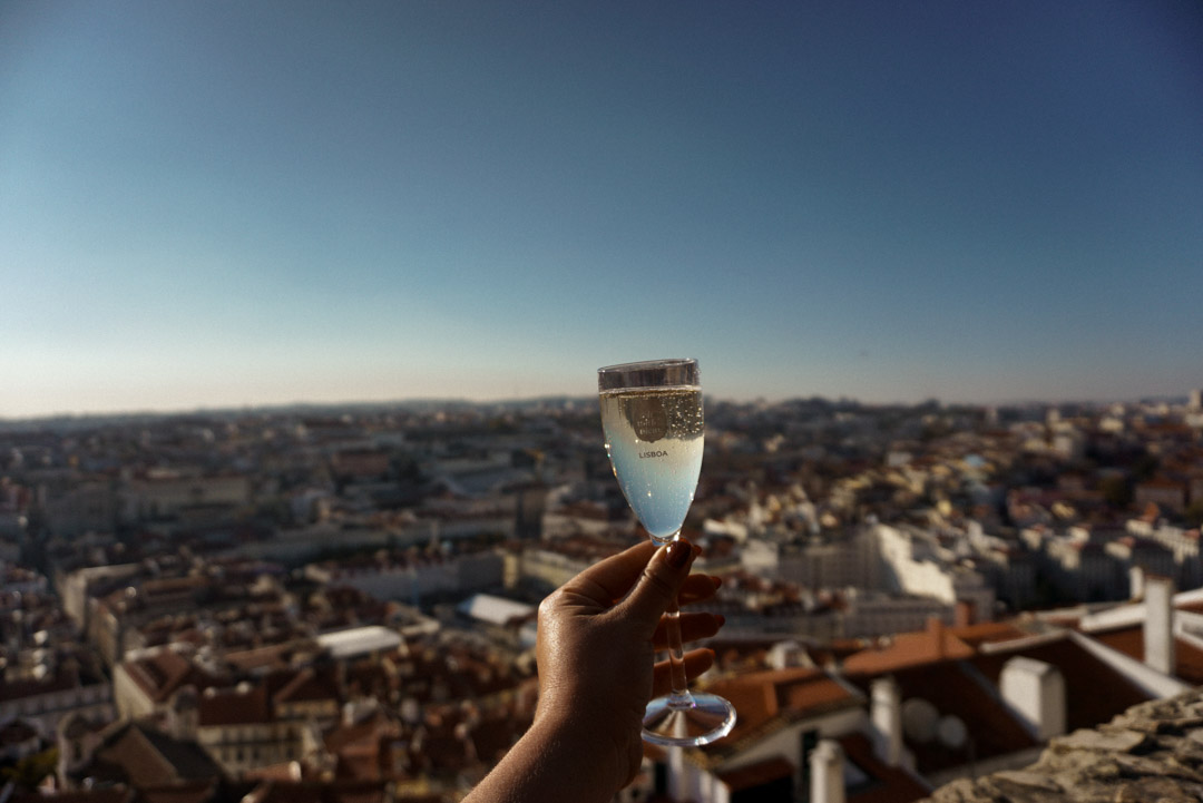 Glass of sparkling wine at Castelo de Sæo Jorge
