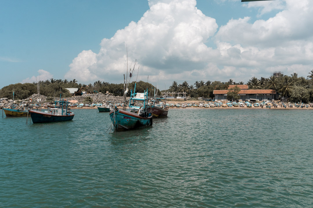 Sri Lankan fishing boats, Sri Lanka South Coast sailing with G Adventures Kalametiya