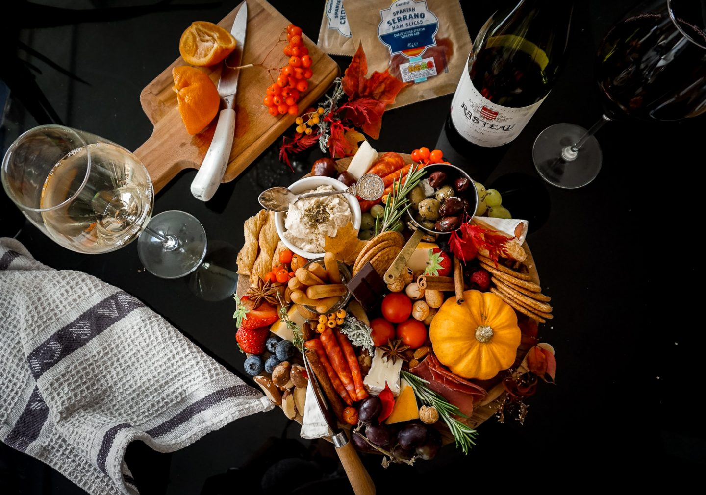 Autumn grazing platter with Centra Wine and snacks