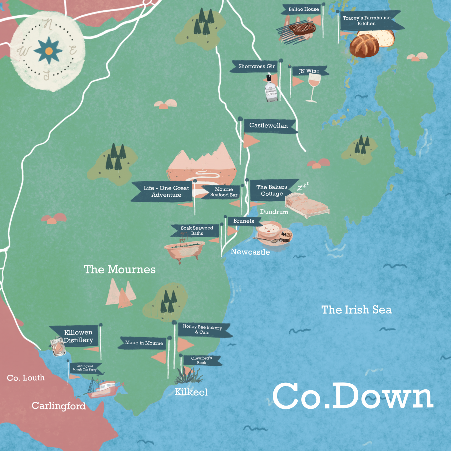 Illustrated County Down map